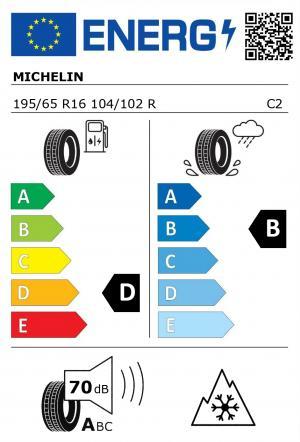 Spotřeba paliva - Přilnavost na mokrém povrchu - Hluk: D - B - 70 db (A)>