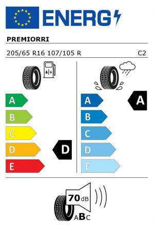 Spotřeba paliva - Přilnavost na mokrém povrchu - Hluk: D - A - 70 db (B)>
